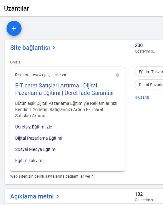 google ads uzantılar