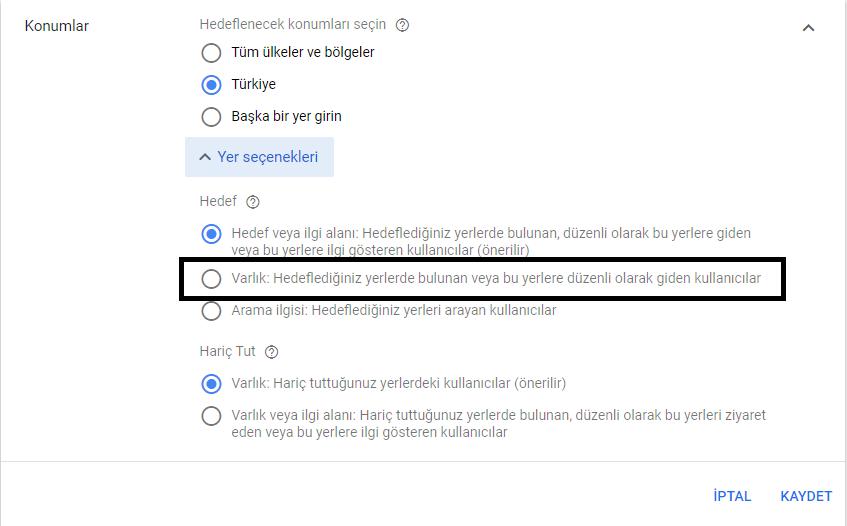 google ads yer seçenekleri